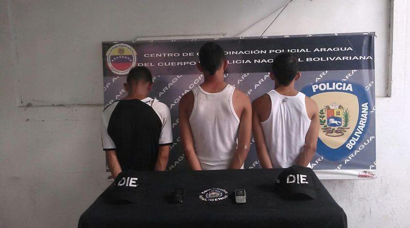 Tres sujetos capturados por extorsión y recuperado vehículo en Aragua