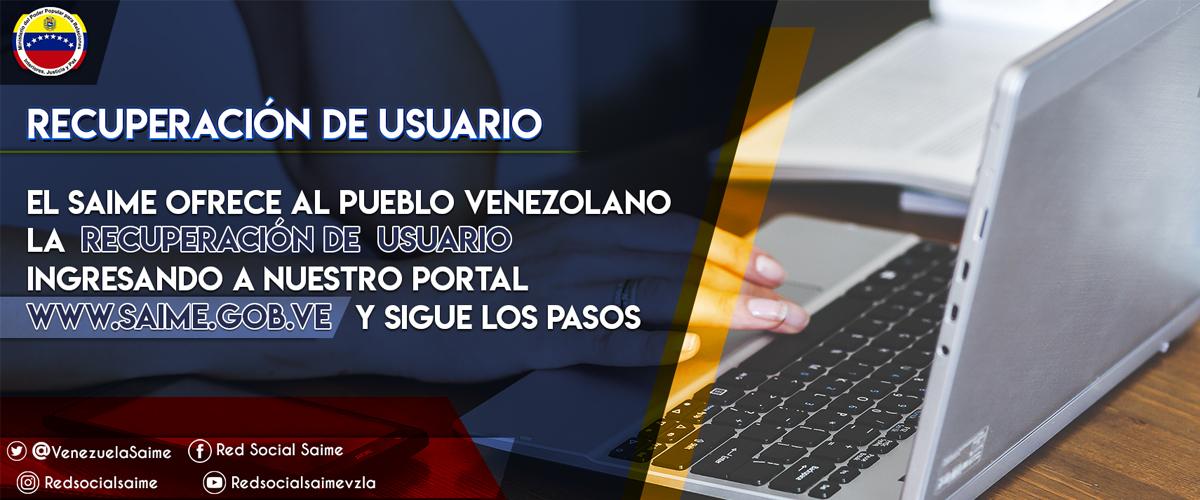Portal web del Saime ofrece opción de Recuperación de Usuario
