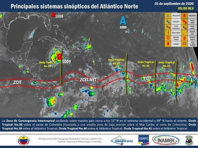 Se prevén precipitaciones con descargas eléctricas en algunas zonas del territorio nacional