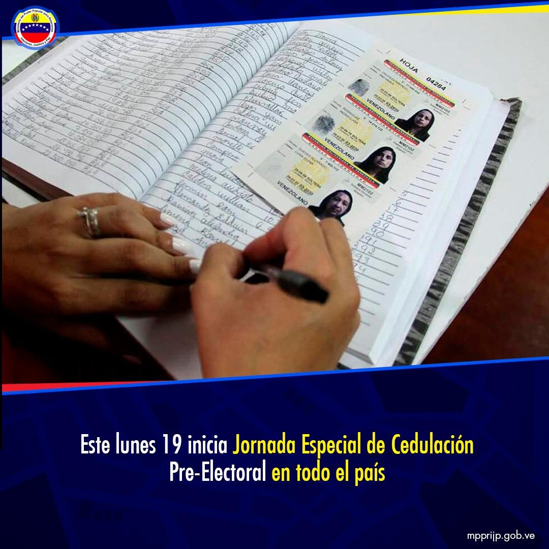 Este lunes 19 inicia Jornada Especial de Cedulación Pre-Electoral en todo el país